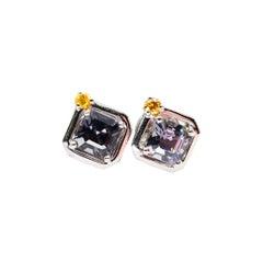 1.44 Carat Asscher Cut Spinel and Fancy Vivid Yellow Diamond 18 Karat Earrings