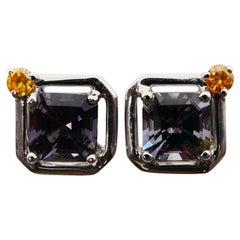 1.44 Carat Asscher Cut Spinel and Fancy Vivid Yellow Diamond 18K Stud Earrings