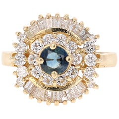 1.44 Carat Blue Sapphire Diamond 14 Karat Yellow Gold Ballerina Ring