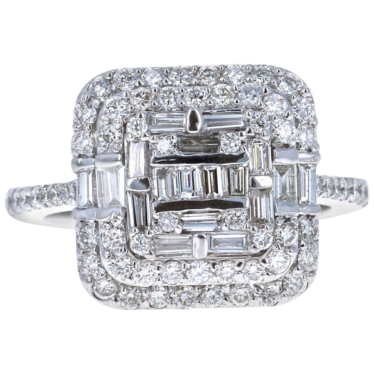 1.44 Carat Diamond 14 Karat White Gold Cocktail Cluster Ring
