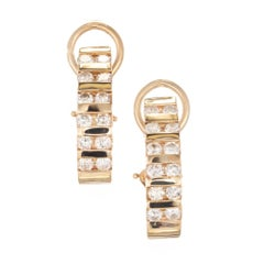 1.44 Carat Diamond Channel Gold Half Hoop Earrings