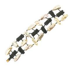 144 Carat Freshwater Pearl Diamond Bracelet Oxidized Sterling Silver, 14Kt Gold