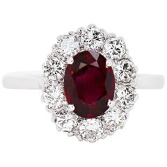 1.44 Carat Natural Ruby and Diamond Coronet Cluster Platinum Engagement Ring