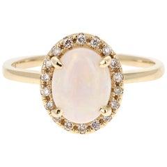 1.44 Carat Opal Diamond 14 Karat Yellow Gold Ring