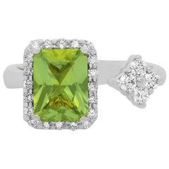 1.44 Carat Peridot and Diamond Ring