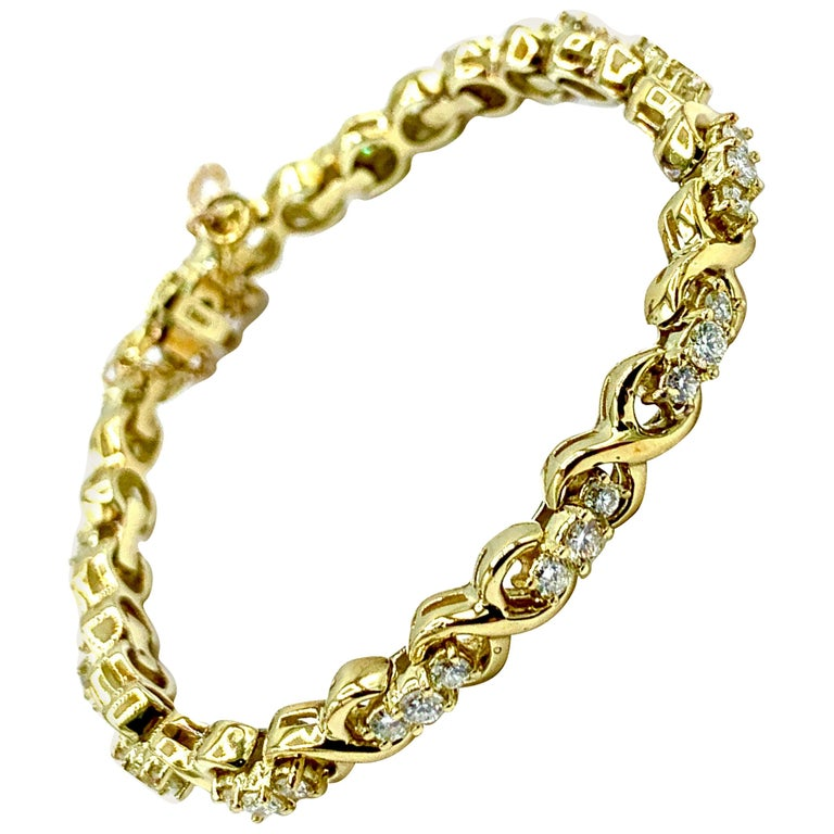 1.44 Carat Round Brilliant Diamond and 18 Karat Yellow Gold Bracelet For Sale