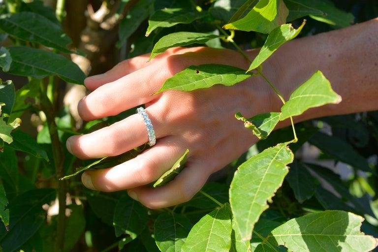 Women's 1.44 Carat Round Cut Moissanite 18 Karat White Golden Alliance Engagement Ring For Sale