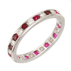 1.44 Carat Ruby Diamond Engraved Platinum Channel Band Ring
