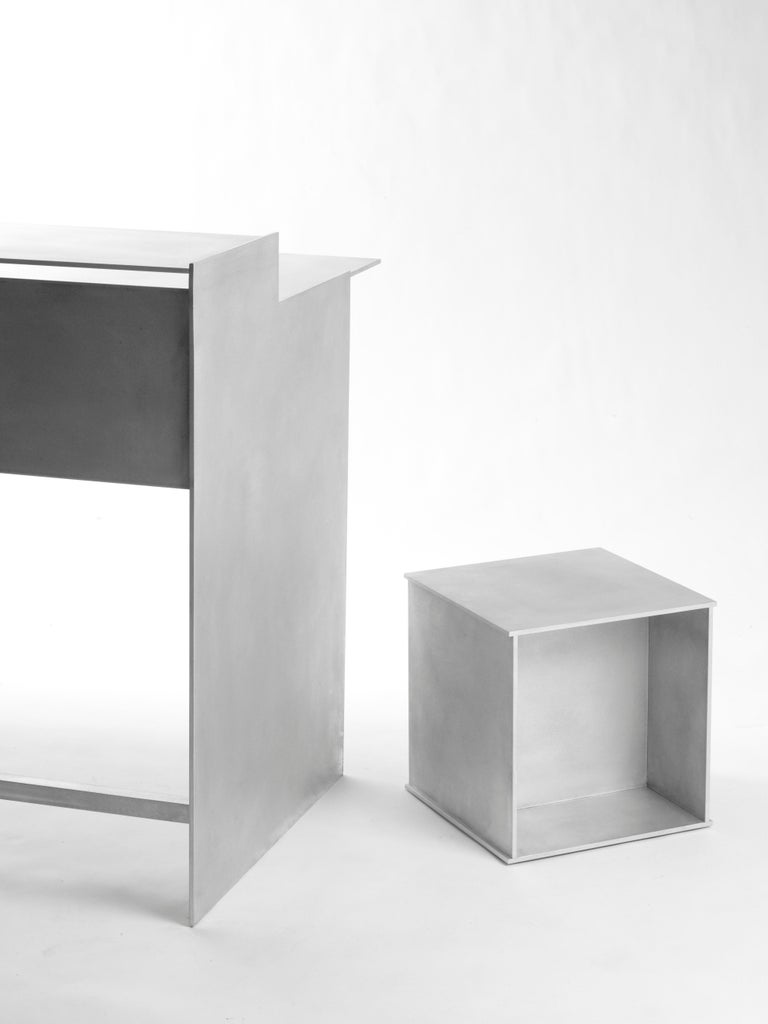 Minimalist 144 Side Table in Waxed Aluminum Plate by Jonathan Nesci For Sale