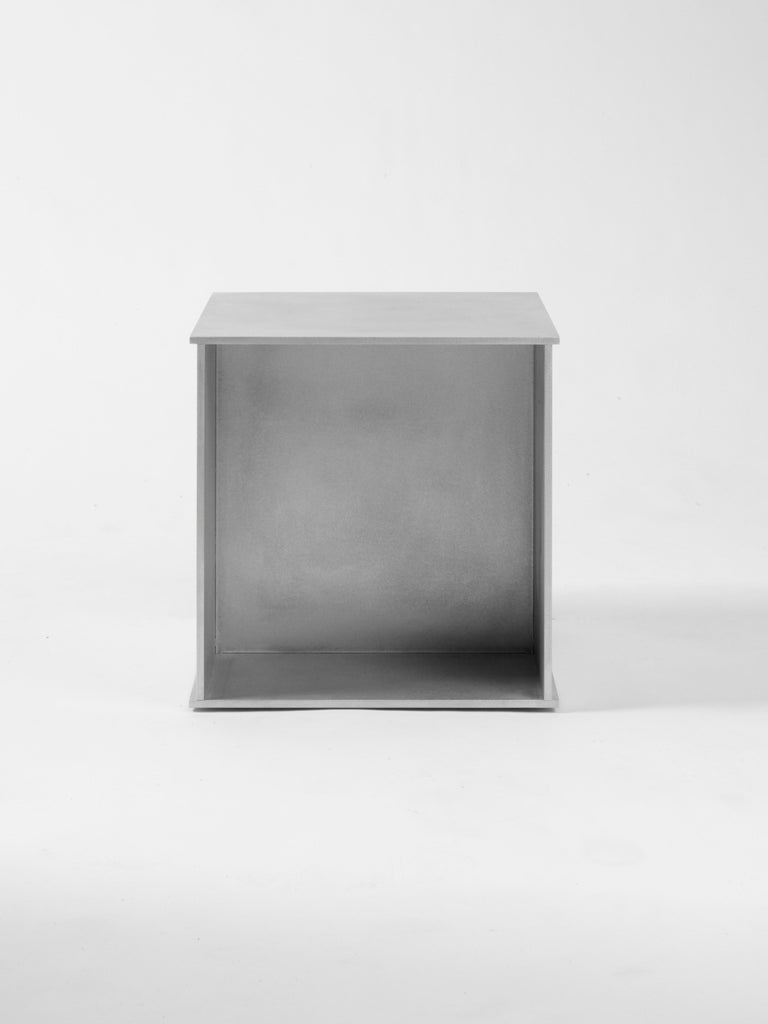 American 144 Side Table in Waxed Aluminum Plate by Jonathan Nesci For Sale