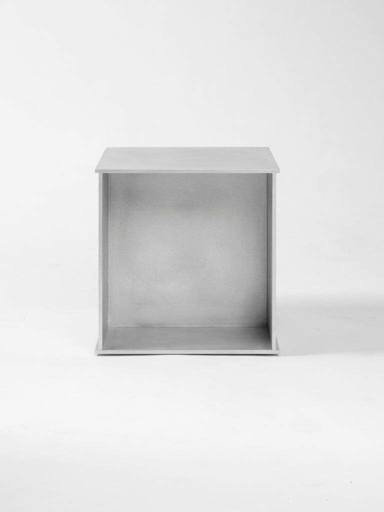 Other 144 Side Table in Waxed Aluminum Plate by Jonathan Nesci For Sale