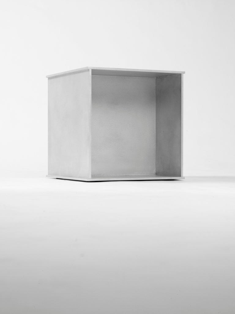 144 Side Table in Waxed Aluminum Plate by Jonathan Nesci In New Condition For Sale In Columbus, IN