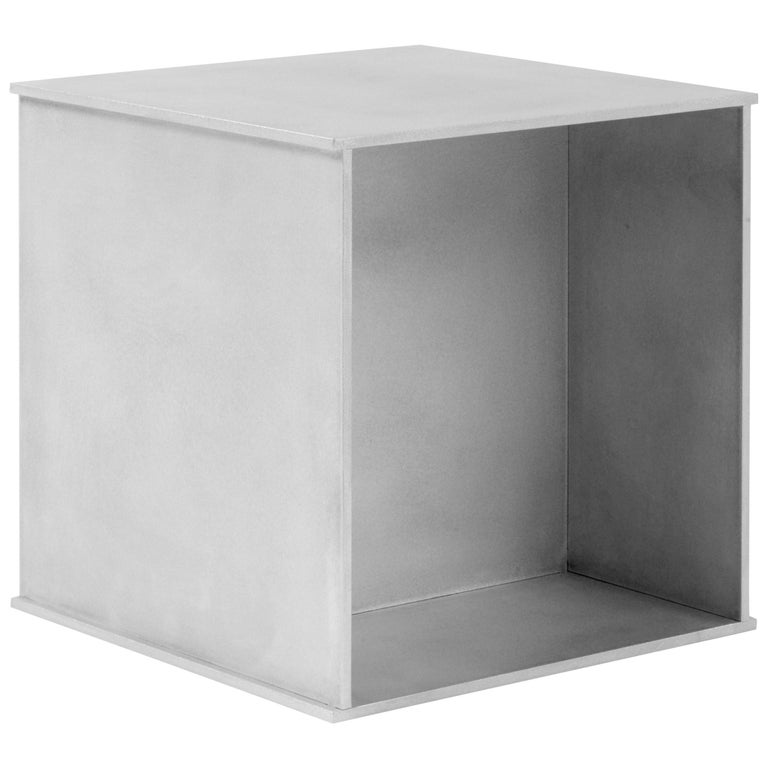144 Side Table in Waxed Aluminum Plate by Jonathan Nesci For Sale