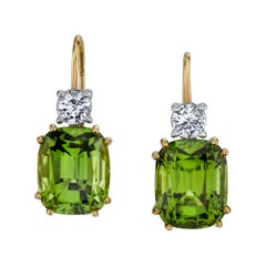 14.40 Carat Cushion Peridots and .67 Carat Round Diamonds 18 Karat Gold Earring
