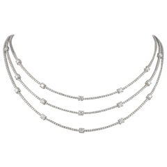 14.40 Carat Diamond 18 Karat White Gold 3-Row Tennis Necklace