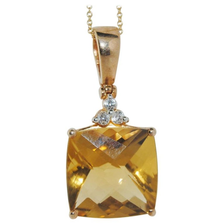 14.41 Carat Citrine Silver Plated Pendant Necklace For Sale