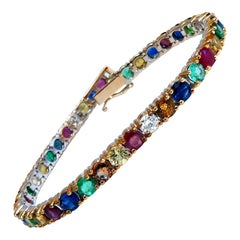 14.43ct Natural Gem-Line Emerald Sapphire Ruby Bracelet 14kt