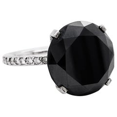 14.45 Carat Black Diamond Ring, White Gold Diamond Band and Hidden Halo