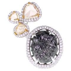 14.45 Carat Rough Diamond with 1.2 Carat Yellow Rose Cut Cocktail Ring