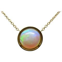 14.49 Carat Ethiopian Opal Pendant with 18 Karat Yellow Gold Chain Necklace