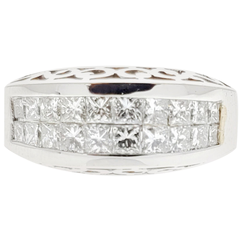 1.45 Carat 2 Row Princess Cut Diamond Ring in 18 Karat White Gold