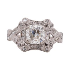 1.45 Carat Art Deco Diamond Platinum Engagement Ring