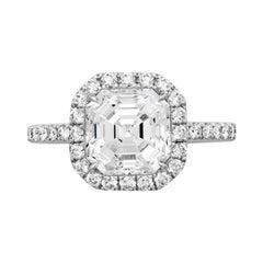 1.45 Carat Asscher Cut Diamond Engagement Ring on 18 Karat White Gold