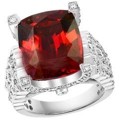 14.5 Carat Cushion Shape Rhodolite Garnet and 2 Carat Diamond Ring 18 Karat Gold