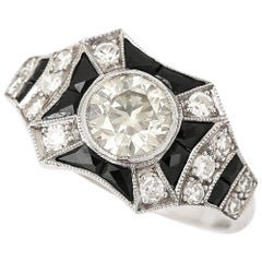 1.45 Carat Diamond and Onyx 18 Karat Gold Art Deco Style Solitaire Cluster Ring