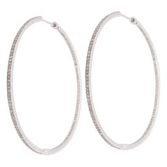 1.45 Carat Diamond Large Inside Out Hoops in 14 Karat White Gold, Diamond Hoops