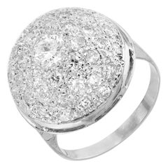 1.45 Carat Diamond Pave Cluster Dome Gold Cocktail Ring