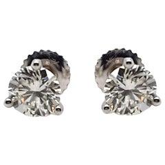 1.45 Carat Diamond Stud Earrings