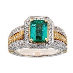 1.45 Carat Emerald and 1.5 Carat Diamond Ring in 18 Karat Two-Tone Gold