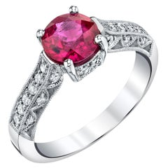 1.45 Carat GIA Certified Burmese Ruby and Diamond White Gold Cocktail Ring