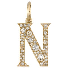 "1.45 Carat Mixed Cut Diamonds Set in a Yellow Gold Letter ""N"" Pendant"