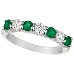 1.45 Carat Natural Diamond and Emerald 7-Stone Ring Band 14 Karat White Gold