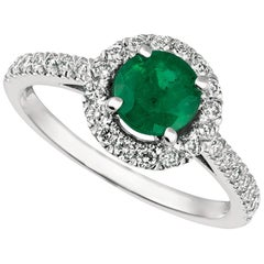 1.45 Carat Natural Diamond and Emerald Ring 14 Karat White Gold