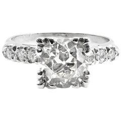 1.45 Carat Old European Cut Diamond Platinum Engagement Ring