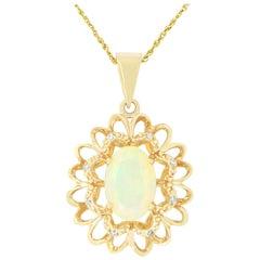 Oval Opal Diamond Sunflower Pendant 14 Karat Yellow Gold