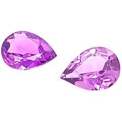 1.45 Carat Pear Shaped Purple Sapphire, Pair