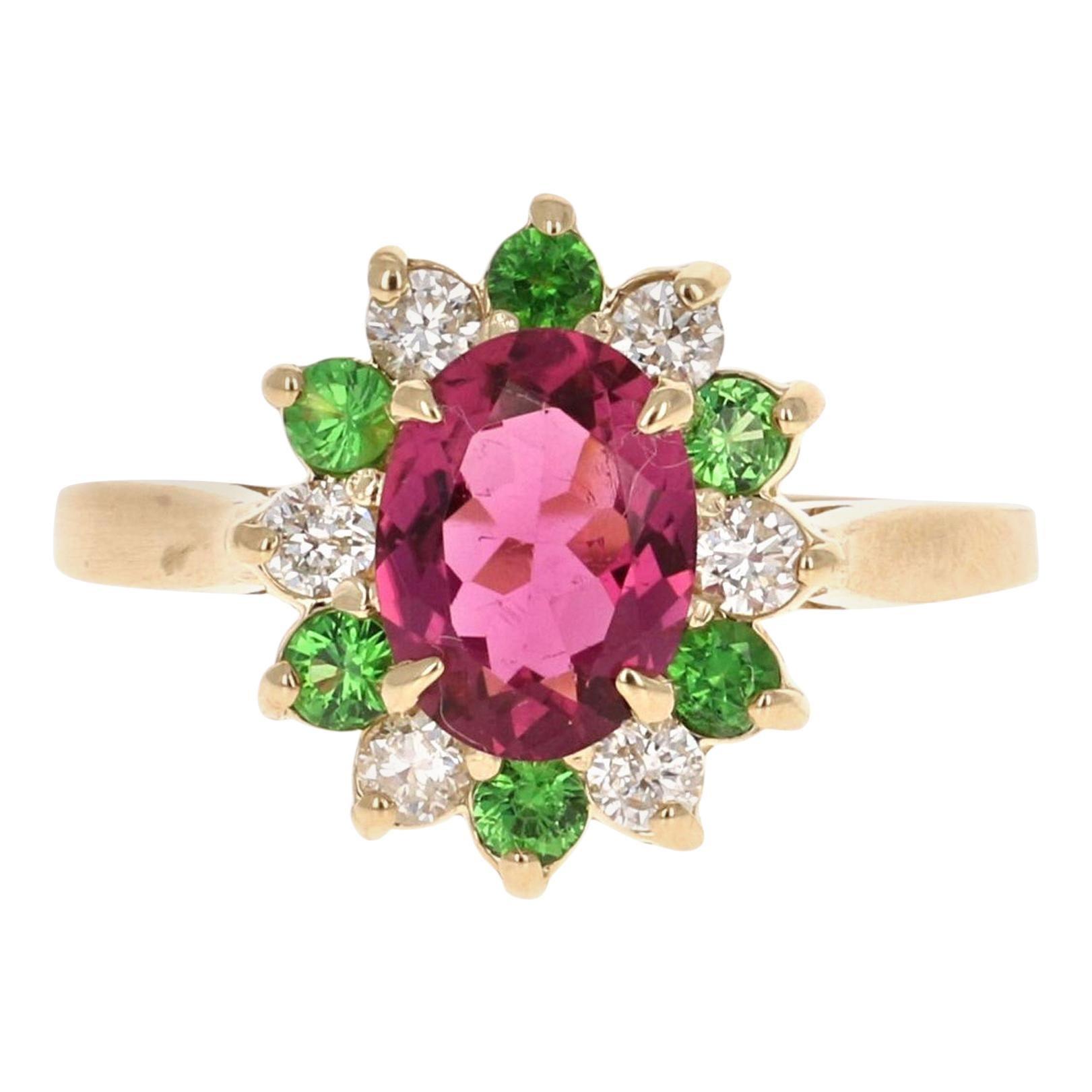 1.45 Carat Pink Tourmaline Tsavorite Diamond 14 Karat White Gold Ring
