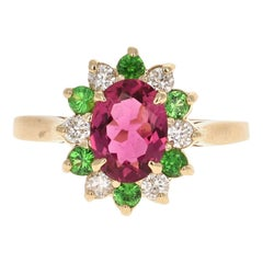 1.45 Carat Pink Tourmaline Tsavorite Diamond 14 Karat White Gold Ring