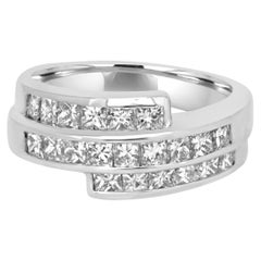 1.45 Carat Princess Cut Diamond Three-Row White Gold Fashion Cocktail Band Ring
