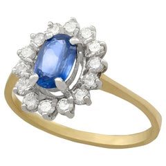 1.45 Carat Sapphire Diamond Gold Cluster Ring