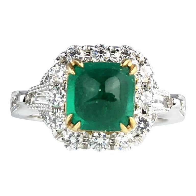 1.45 Carat Sugarloaf Emerald and Diamond Ring by DiamondTown For Sale