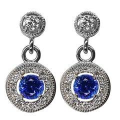 1.45 Carat Tanzanite & Diamond Drop Gold Statement Earrings Estate Fine Jewelry