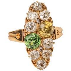 1.45 Carat Total Old Mine Diamond and Multi Zircon Gemstone Victorian Gold Ring