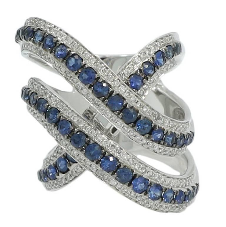 1.45 Carat White Gold Cross over Diamond and Sapphire Ring