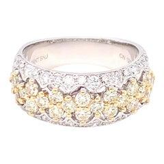 1.45 Carat Yellow & White Diamond Band Ring in 14K White Gold