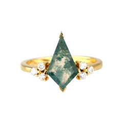 1.45 Ct. Moss Agate with Diamond Cocktail Ring